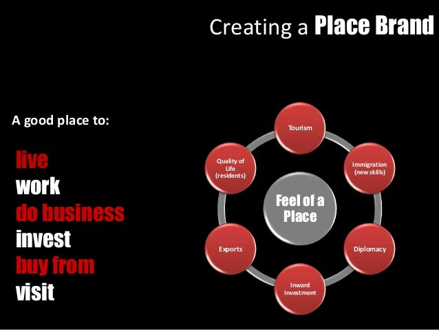 A good place to: live work do business invest buy from visit Feel of a Place Tourism Immigration (new skills) Diplomacy In...