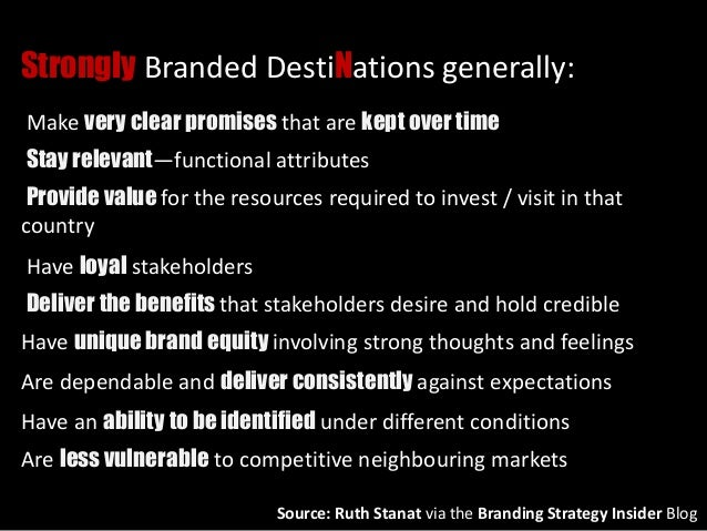 Strongly Branded DestiNations generally: Make very clear promises that are kept over time Stay relevant—functional attribu...