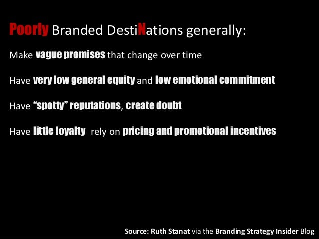 Poorly Branded DestiNations generally: Make vague promises that change over time Have very low general equity and low emot...