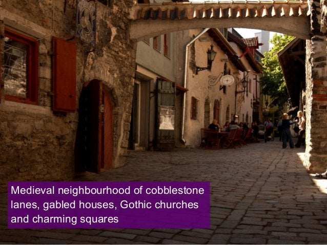 Medieval neighbourhood of cobblestone lanes, gabled houses, Gothic churches and charming squares