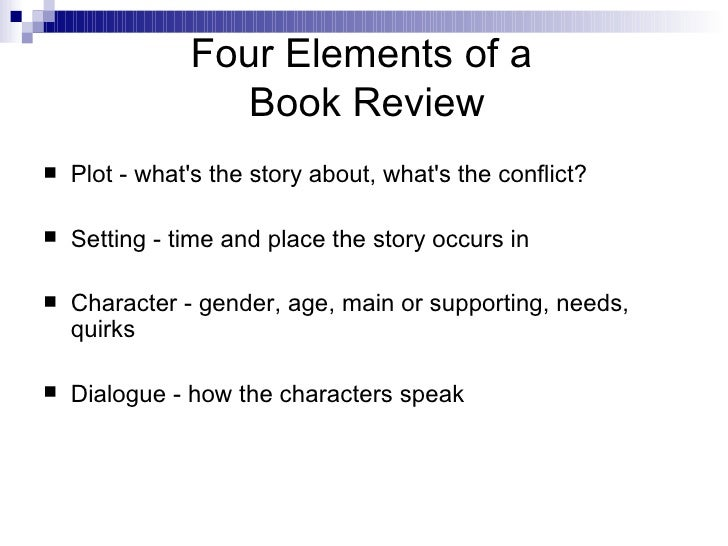 what are the elements of a book report