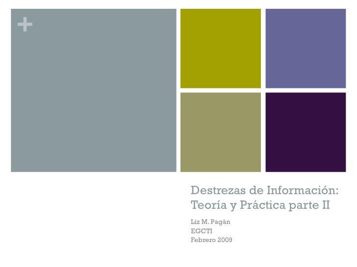 Destrezas de Información: Teoría y Práctica parte II Liz M. Pagán EGCTI Febrero 2009
