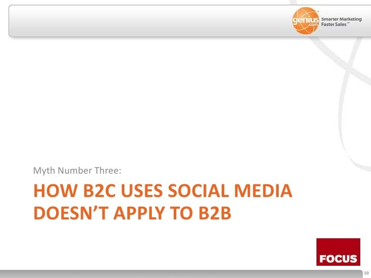 How B2C Uses social media doesn't apply to b2b<br />Myth Number Three:<br />