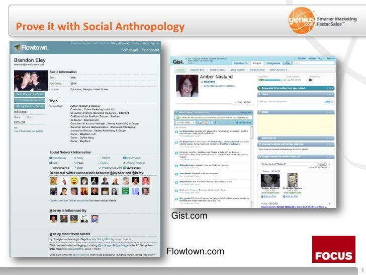 Prove it with Social Anthropology<br />Gist.com<br />Flowtown.com<br />