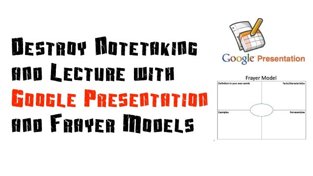 Destroy Notetaking and Lecture with Google Presentation and Frayer Models