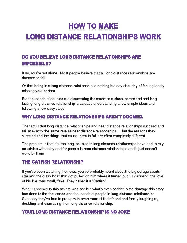 How Do U Make A Long Distance Relationship Work