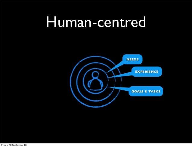 Human-centred NEEDS GOALS & TASKS EXPERIENCE Friday, 13 September 13
