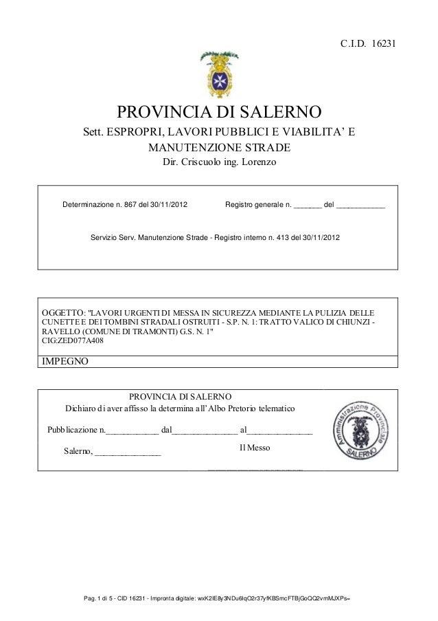 C.I.D. 16231                    PROVINCIA DI SALERNO          Sett. ESPROPRI, LAVORI PUBBLICI E VIABILITA' E              ...
