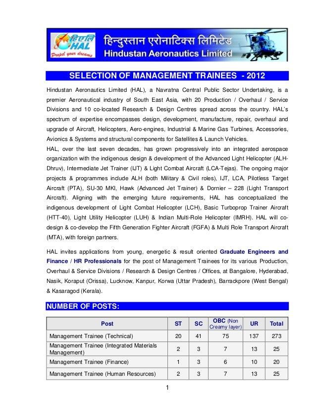 2012         SELECTION OF MANAGEMENT TRAINEES - 2012Hindustan Aeronautics Limited (HAL), a Navratna Central Public Sector ...