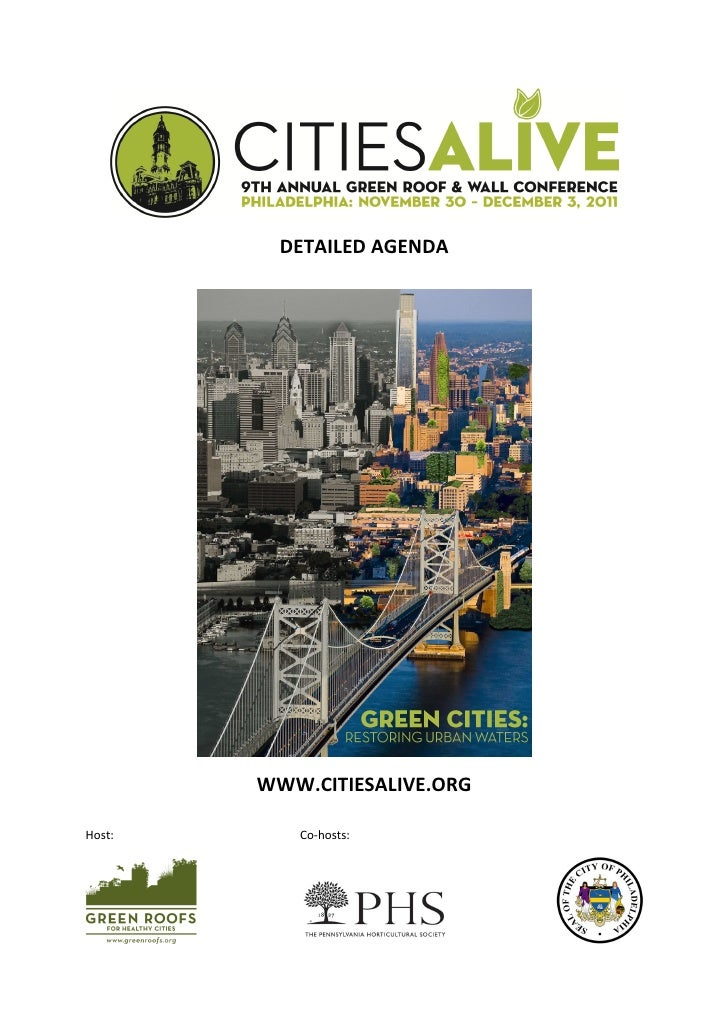 DETAILED AGENDA        WWW.CITIESALIVE.ORGHost:      Co-hosts: