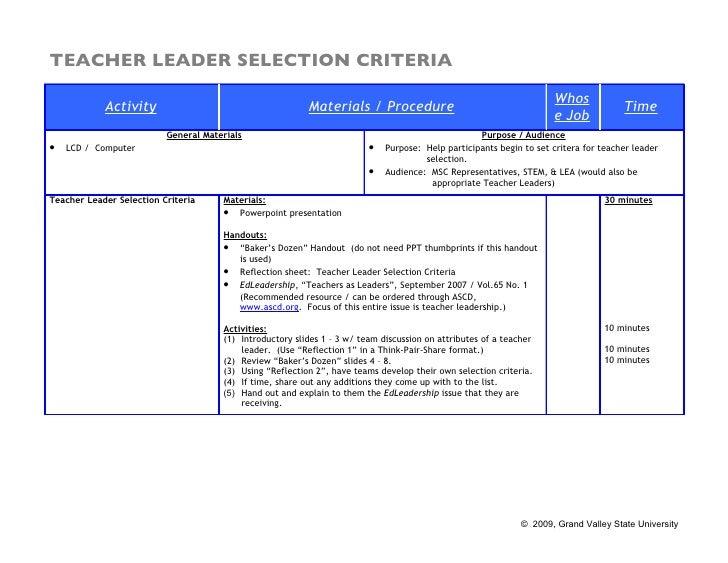 TEACHER LEADER SELECTION CRITERIA                                                                                         ...