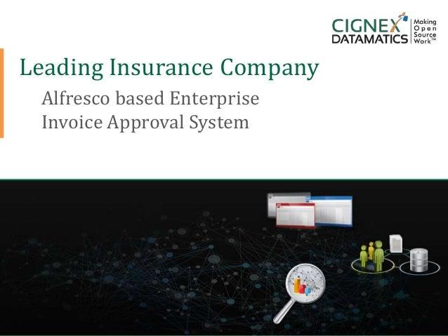 CIGNEX Datamatics Confidential www.cignex.comLeading Insurance CompanyAlfresco based EnterpriseInvoice Approval System