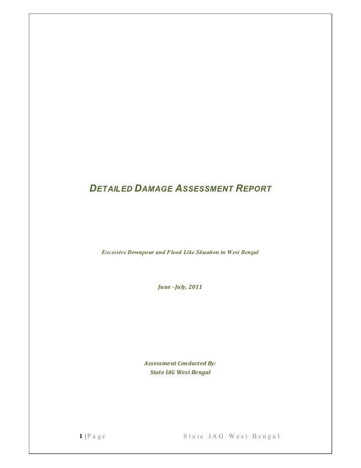 Detailed Damage Assessment Report   West Bengal  2011
