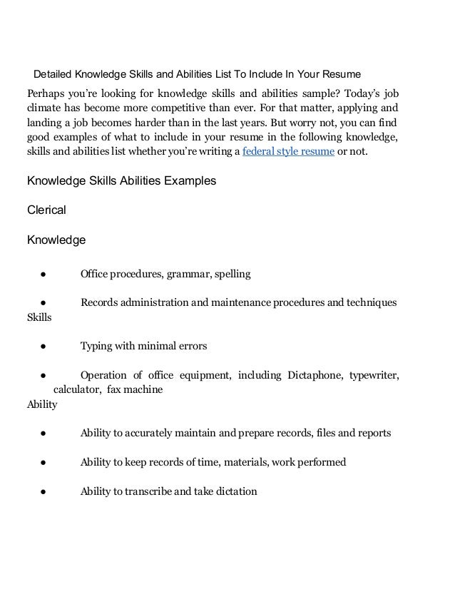 ... Ability To Transcribe And Take Dictation; 2.  Resume Skills And Abilities List