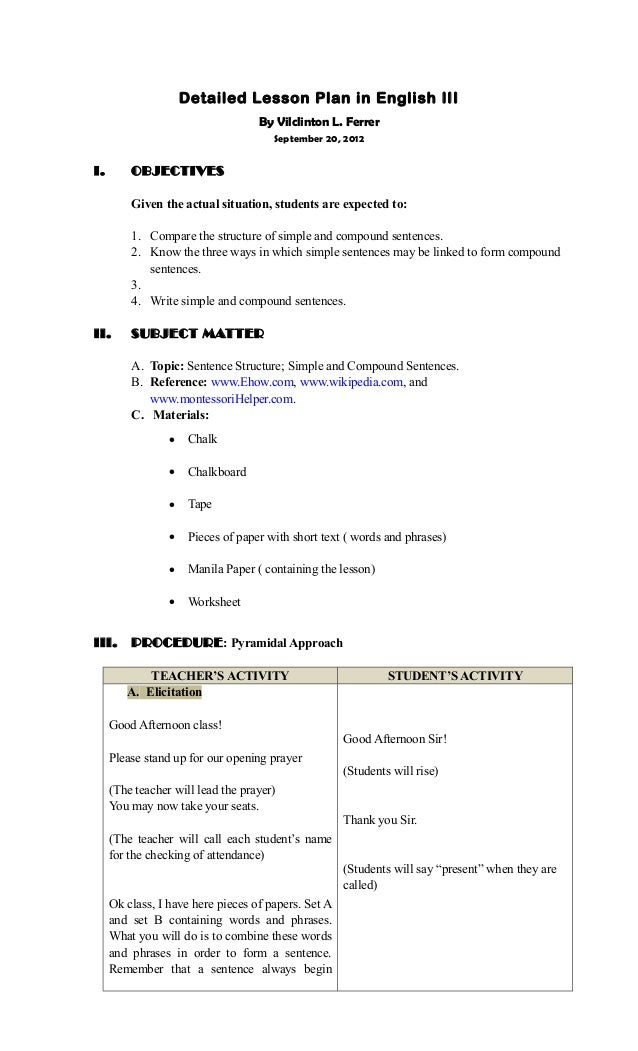 Detailed Lesson Plan Sentence Structuresimple Compound