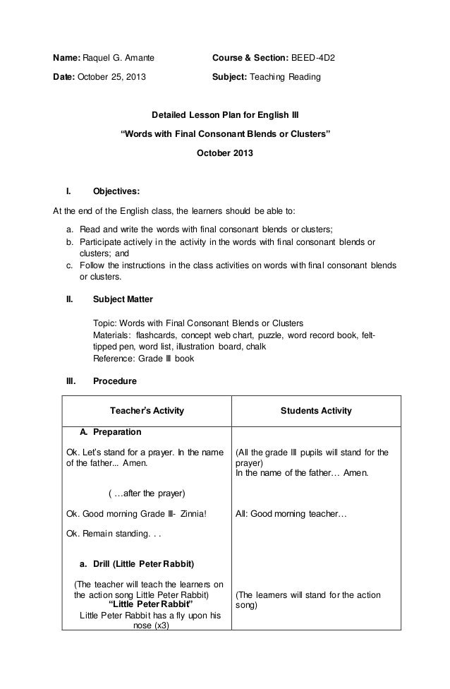 "Detailed lesson plan for english III (""Words with Final Consonant ..."