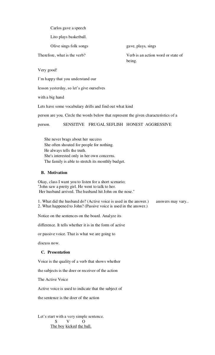Worksheets 1000 Active Passive Sentences detailed lesson plan in active and passive