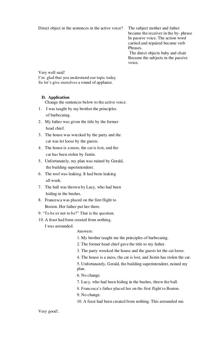 Grammar worksheets active and passive voice answer key