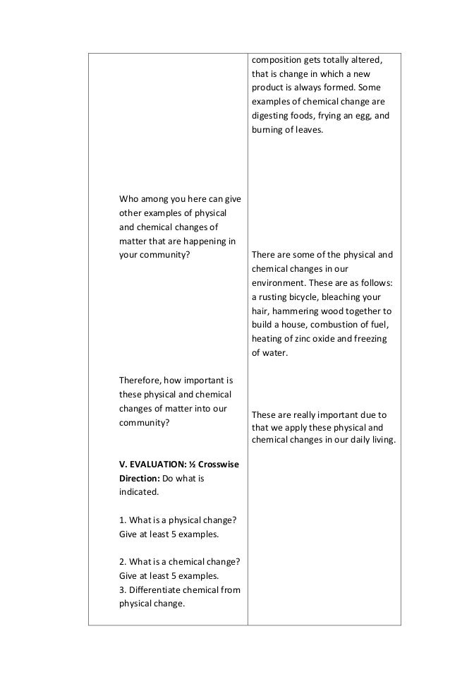 Detailed lesson plan in chemistry – Physical and Chemical Properties of Matter Worksheet