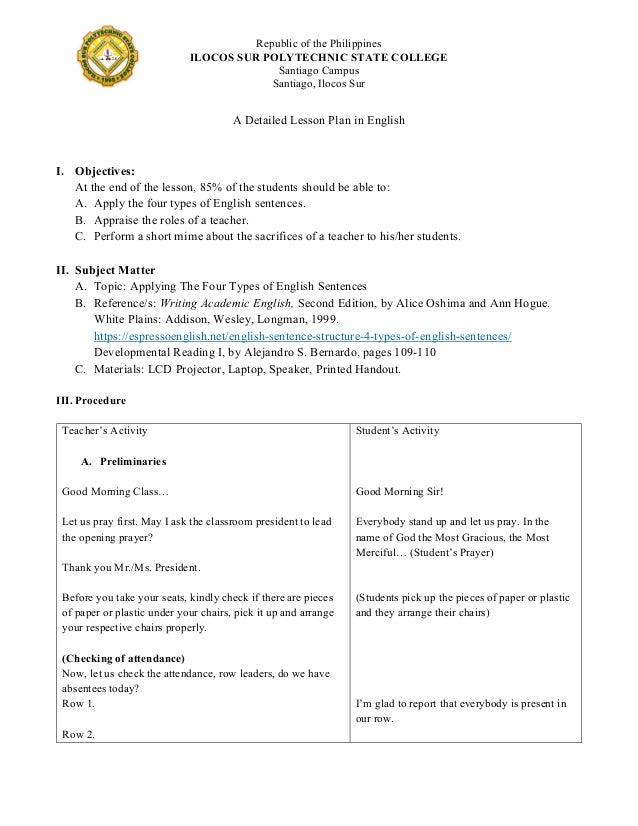 Detailed Lesson Plan in English pdf