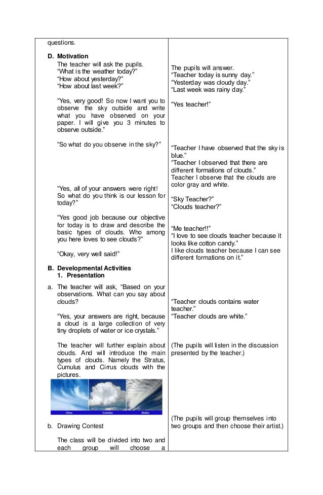 Detailed lesson plan in Science III Basic Types of Clouds