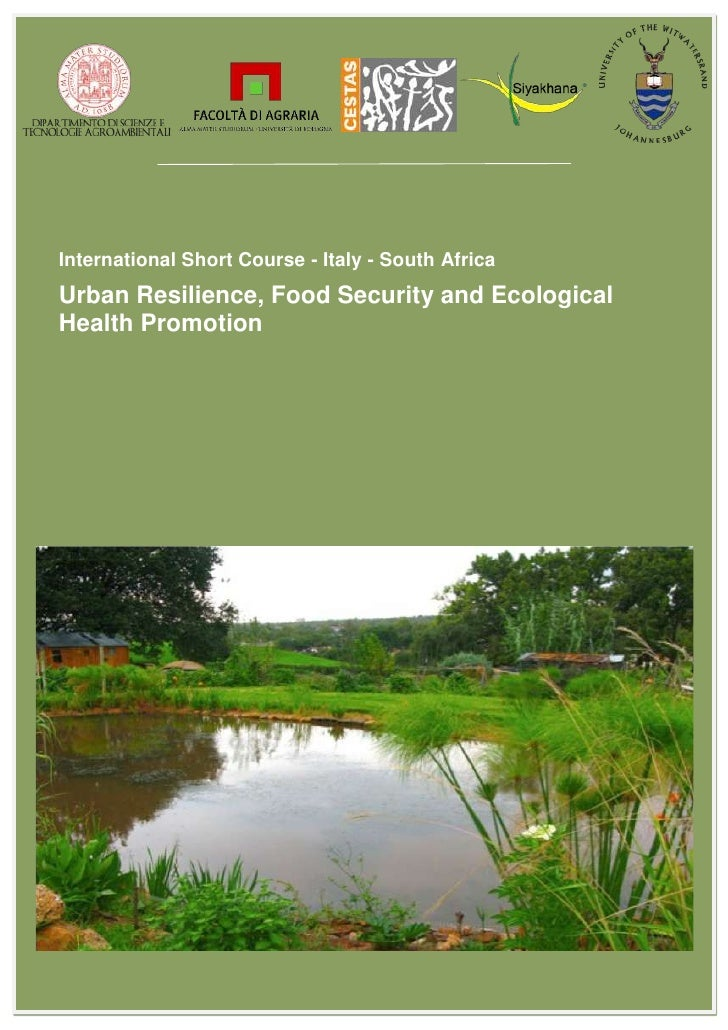 International Short Course - Italy - South AfricaUrban Resilience, Food Security and EcologicalHealth Promotion