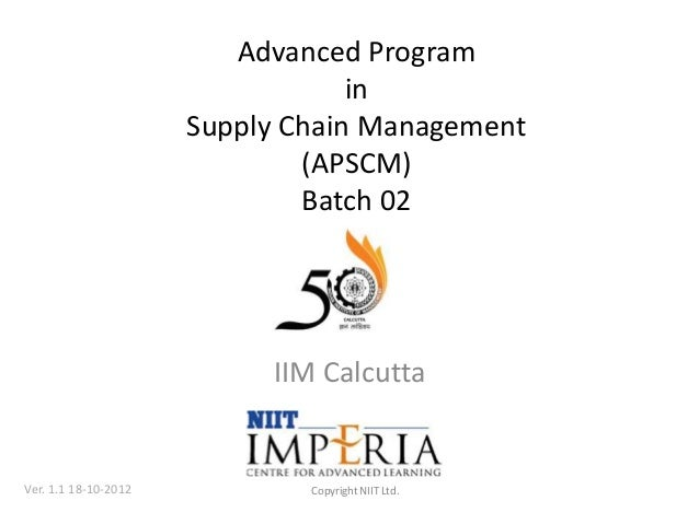 Advanced Program                                  in                      Supply Chain Management                         ...