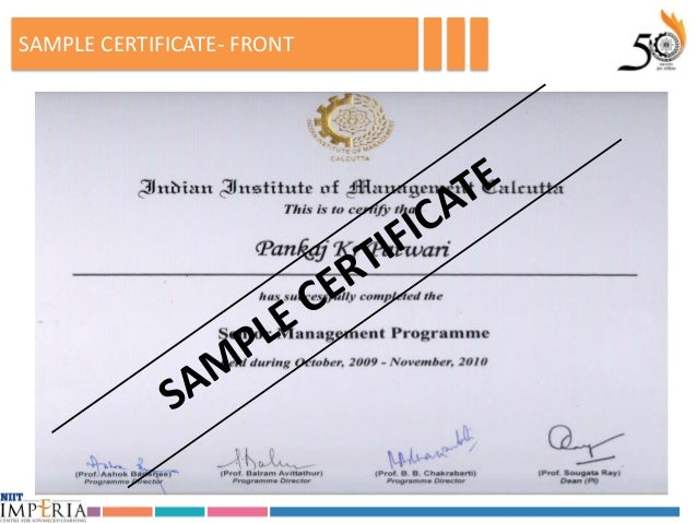 Iim calcuttas senior management program batch 10 sample certificate front yadclub Image collections
