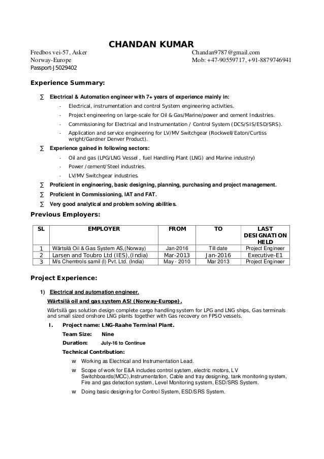 Detailed Resume. CHANDAN KUMAR Fredbos Vei 57, Asker Chandan9787@gmail.com  Norway Europe ...  Detailed Resume