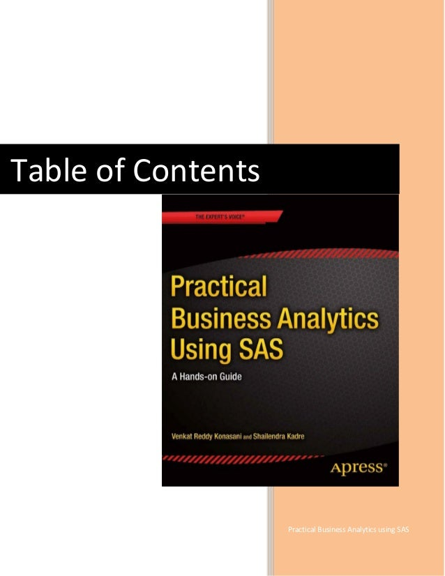 Practical Business Analytics using SAS Table of Contents