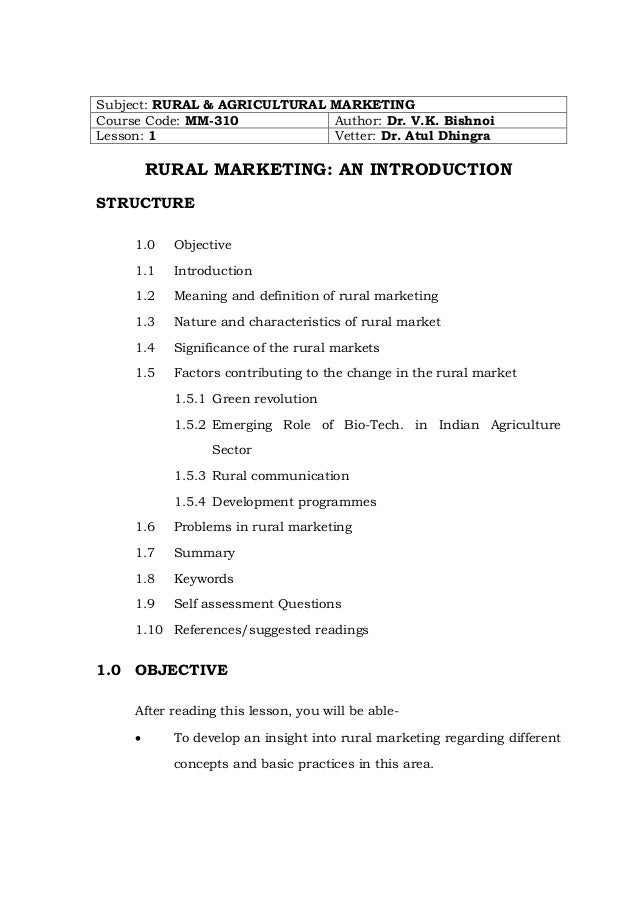 Subject: RURAL & AGRICULTURAL MARKETING Course Code: MM-310 Author: Dr. V.K. Bishnoi Lesson: 1 Vetter: Dr. Atul Dhingra  R...