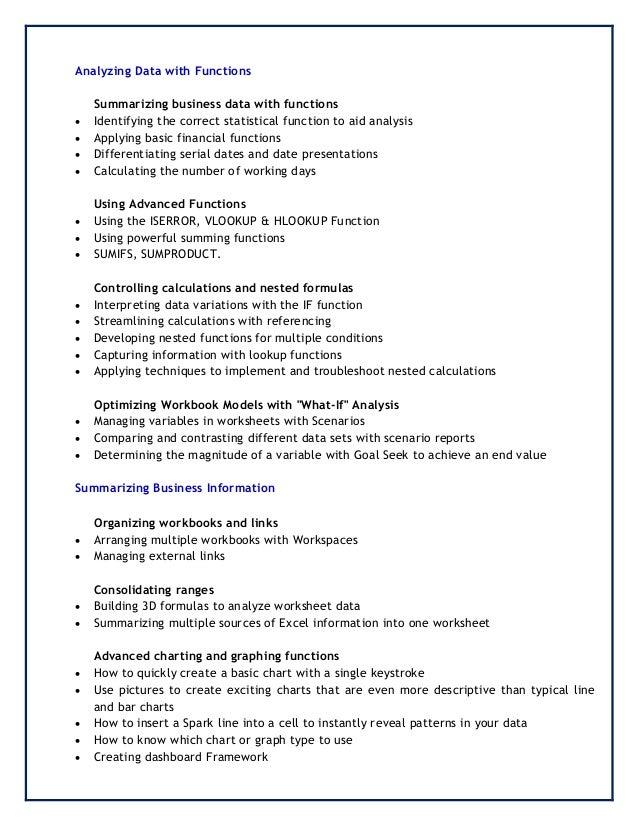 Details Microsoft Excel Workshop by Rays Trainings – Analyzing Data Worksheet