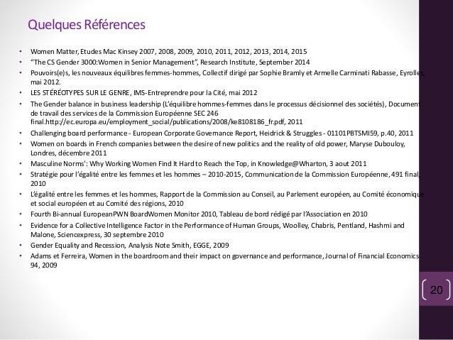 """QuelquesRéférences • Women Matter, Etudes Mac Kinsey 2007, 2008, 2009, 2010, 2011, 2012, 2013, 2014, 2015 • """"The CS Gender..."""