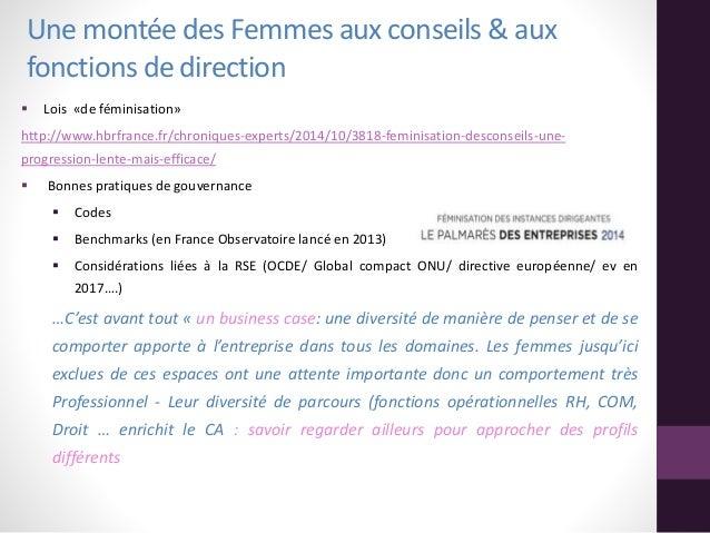 Une montée des Femmes aux conseils & aux fonctions de direction  Lois «de féminisation» http://www.hbrfrance.fr/chronique...