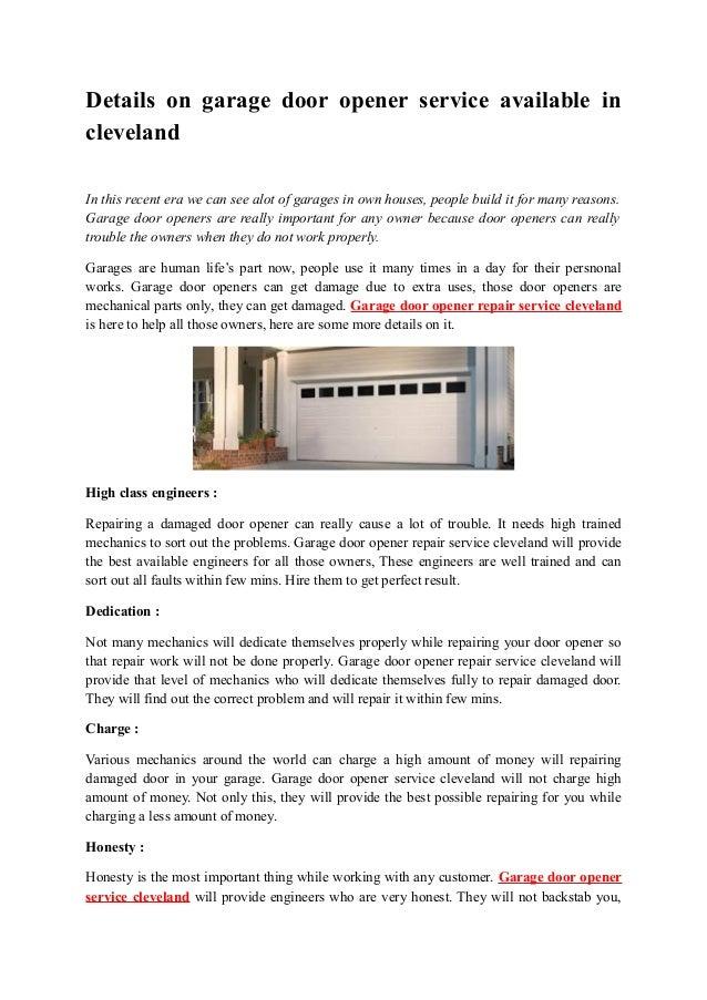 Details On Garage Door Opener Service Available In Cleveland