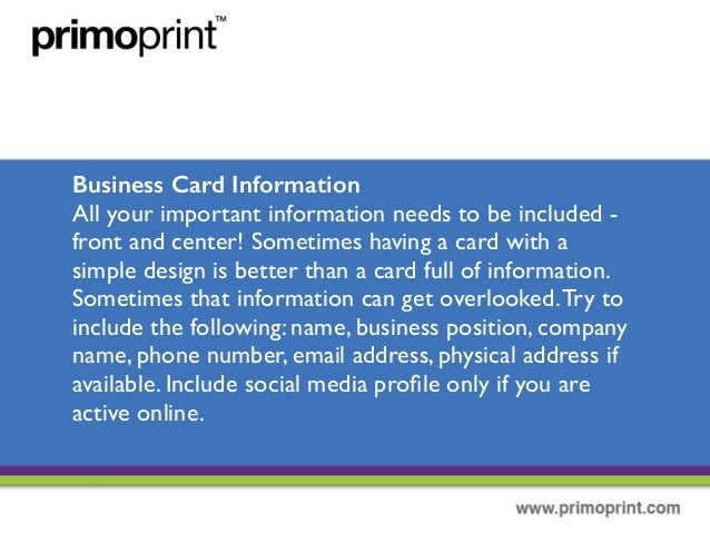 Details on how to create a well designed business card business card information reheart Choice Image