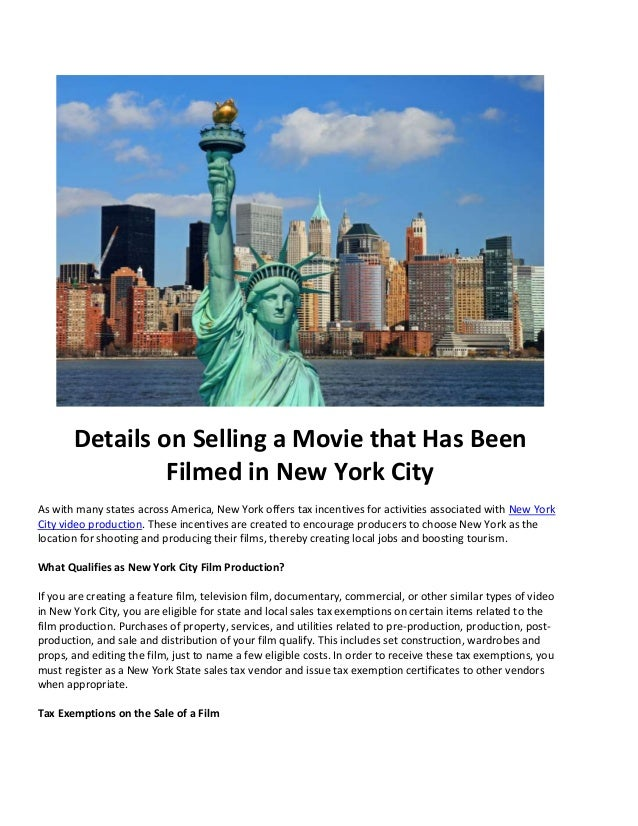 Details On Selling A Movie That Has Been Filmed In New