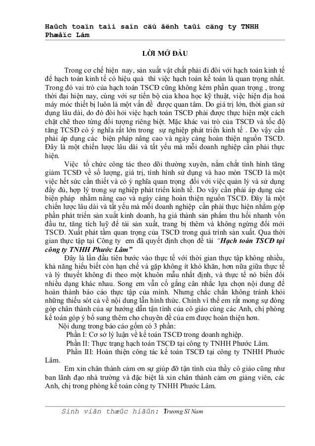 Haûch toaïn taìi saín cäú âënh taûi cäng ty TNHH Phæåïc Lám LỜI MỞ ĐẦU Trong cơ chế hiện nay, sản xuất vật chất phải đi đô...