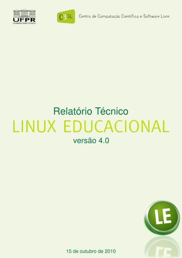 LINUX EDUCACIONAL Centro de Computação Científica e Software Livre Pág. 1/18