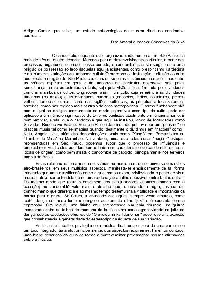 Artigo: Cantar pra subir, um estudo antropologico da musica ritual no candomble paulista... Rita Amaral e Vagner Gonçalves...