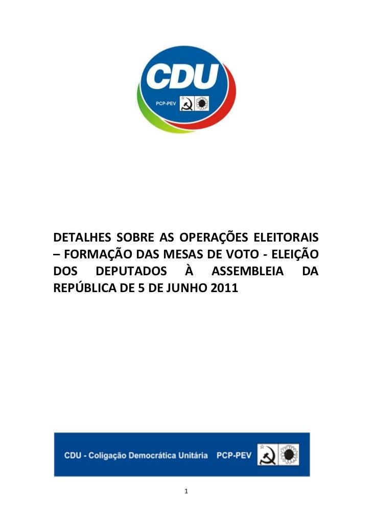 DETALHES SOBRE AS OPERAÇÕES ELEITORAIS– FORMAÇÃO DAS MESAS DE VOTO - ELEIÇÃODOS DEPUTADOS À ASSEMBLEIA DAREPÚBLICA DE 5 DE...