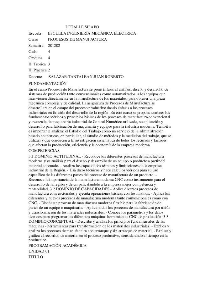 DETALLE SILABOEscuela     ESCUELA INGENIERÍA MECÁNICA ELECTRICACurso       PROCESOS DE MANUFACTURASemestre    201202Ciclo ...