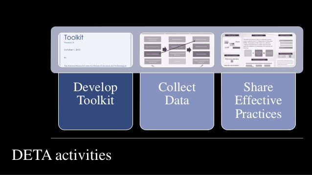 Develop Toolkit Collect Data Share Effective Practices DETA activities