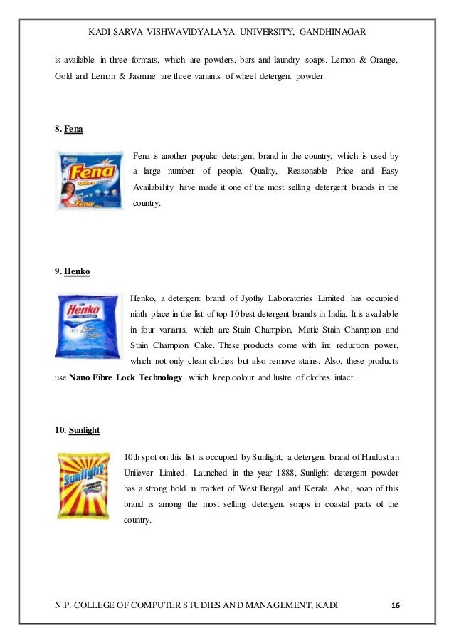 A project report on detergent