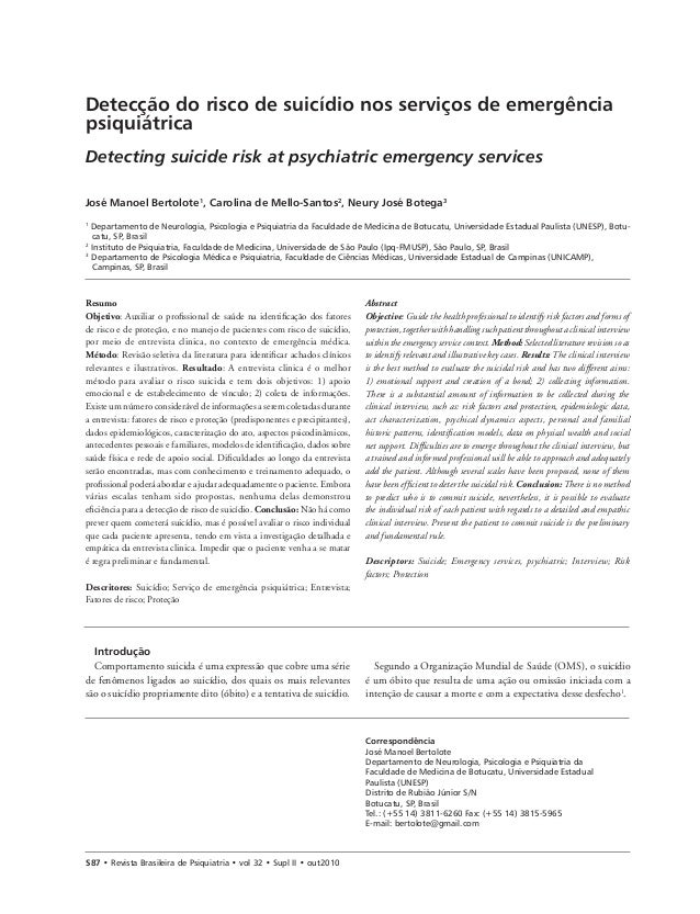 Detecção do risco de suicídio nos serviços de emergência psiquiátrica Detecting suicide risk at psychiatric emergency serv...