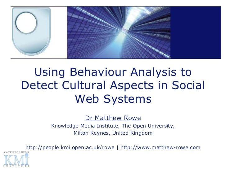 Using Behaviour Analysis toDetect Cultural Aspects in Social         Web Systems                     Dr Matthew Rowe      ...