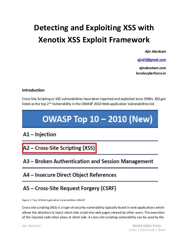Detecting and Exploiting XSS with           Xenotix XSS Exploit Framework                                                 ...