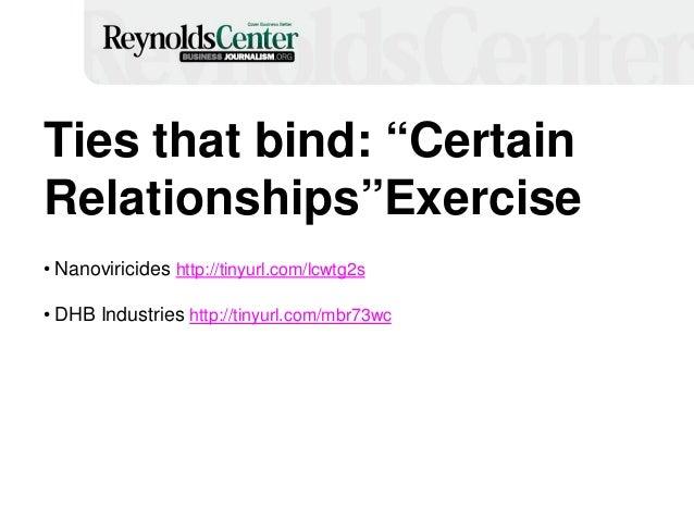 "Ties that bind: ""Certain Relationships""Exercise • Nanoviricides http://tinyurl.com/lcwtg2s • DHB Industries http://tinyurl..."