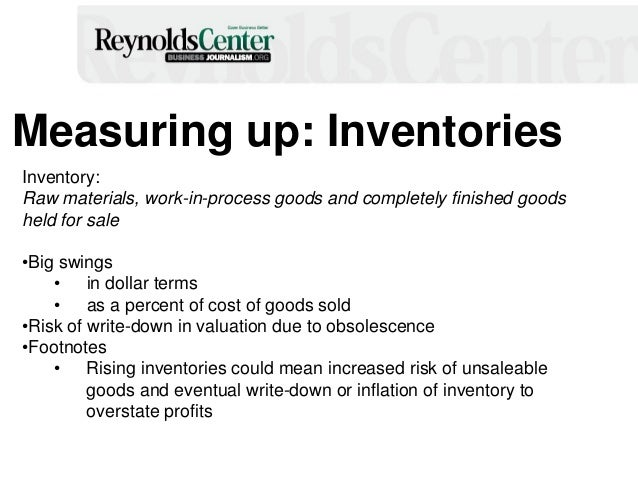 Measuring up: Inventories Inventory: Raw materials, work-in-process goods and completely finished goods held for sale •Big...