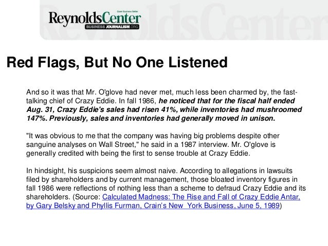 Red Flags, But No One Listened And so it was that Mr. O'glove had never met, much less been charmed by, the fast- talking ...